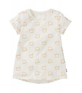 Kinderkleding t-shirt gebroken wit gouden kroontjes