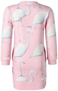 Meisjes peuter jurkjes noppies flamingo print tropical roze 2