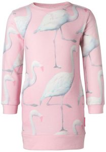 Meisjes peuter jurkjes noppies flamingo print tropical roze