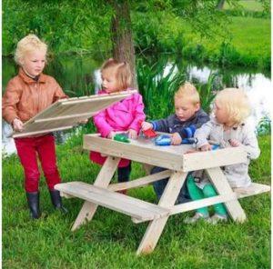 Picknicktafel met zandbak - buitenspeelgoed zand