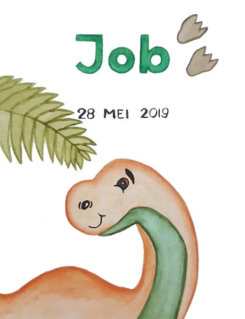 Dino handgeschilderd geboorteschilderij waterverf 2