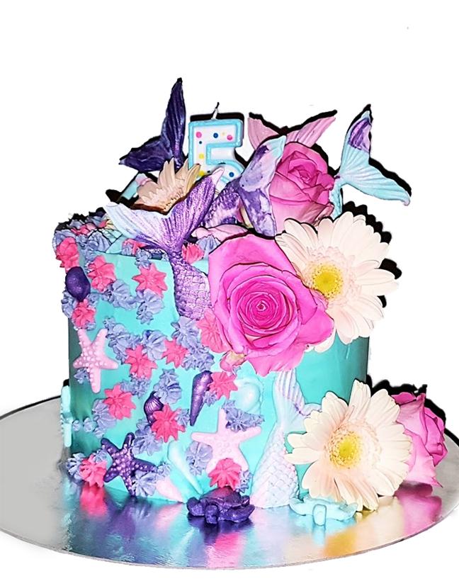 Mermaid cake taart zeemeermin cake echte bloemen
