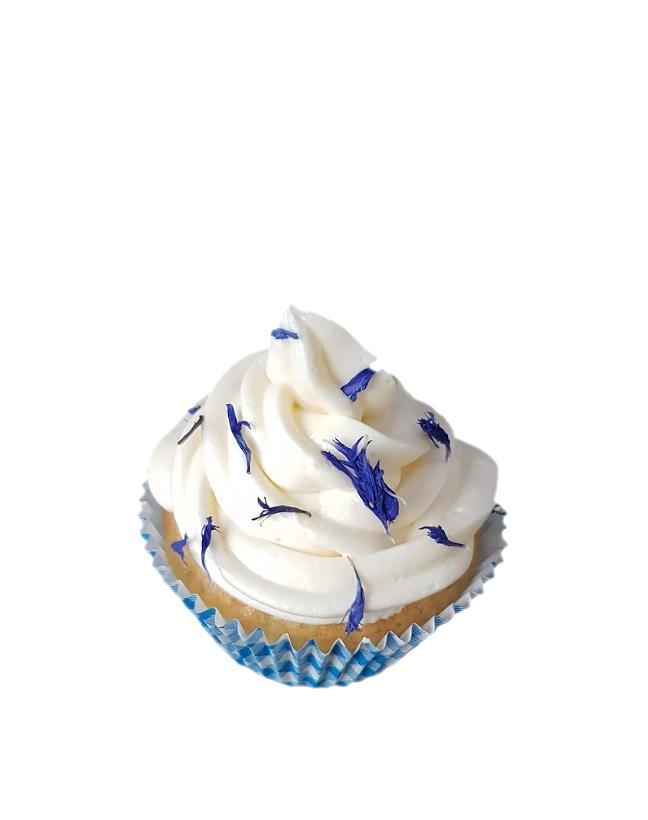 cupcake gedroogde bloemen botercreme blauw3